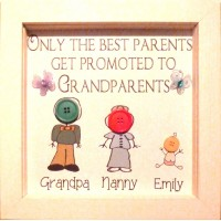 Grandparents Button People Personalised Gift