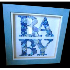 Large Framed Hand-made Button BABY Picture