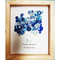 Blue Train Personalised Hand-made Button Picture