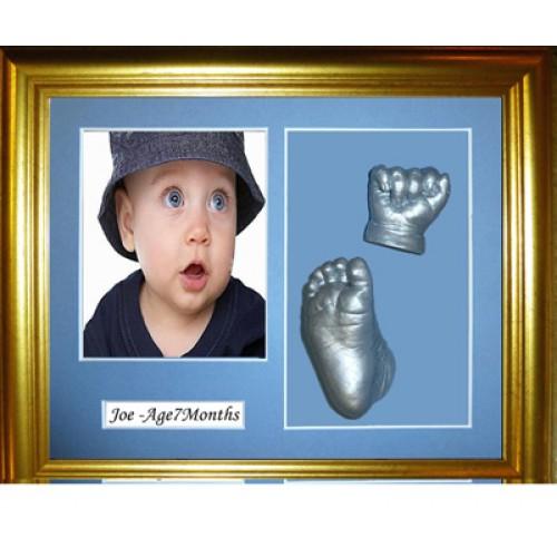 Baby Casting Kit Medium Gold Framed with Name Mount
