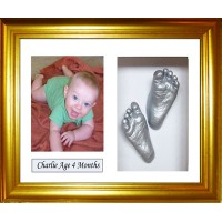 Baby Casting Kit Medium Gold Framed with Name Mount