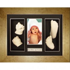 Flat Pine Large Framed Baby Casting Kit with Name Space