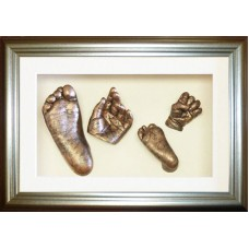 Large Silver Framed Family Siblings 3D Casts Kit