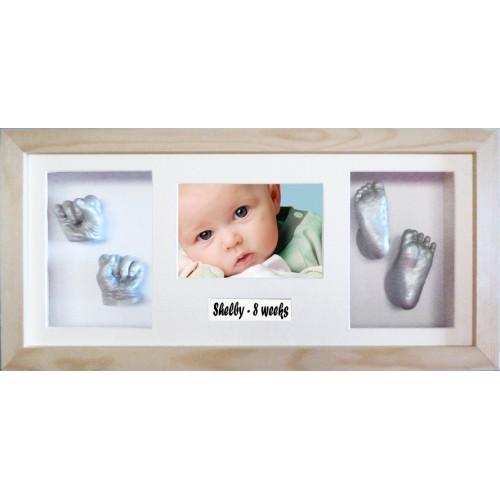 Newborn Baby Casting Kit Keepsake Gift Flat Pine Box Frame Single Blue Mount