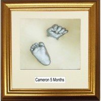 Classic Gold Framed 3D Baby Casting Kit with Name Space