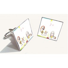 Crystallised Photo or Child's Artwork Cufflinks