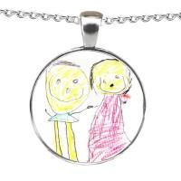 Crystallised Doodle or Artwork Personalised Necklace