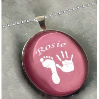 Coloured Crystallised Footprints Charm Necklace