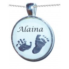 Crystallised Personalised Footprints Charm Necklace