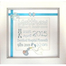Clay Stork Birth Name Details Frame BLUE