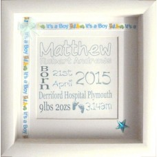 Embellished Birth Name Details Frame BLUE