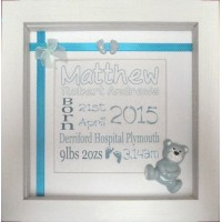 Teddy Embellished Birth Name Details Frame BLUE