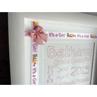 Embellished Birth Name Details Frame PINK