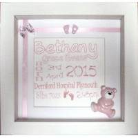 Teddy Embellished Birth Name Details Frame PINK