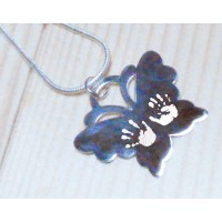 Butterfly Hand Print Footprint Necklace Two Prints