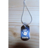 Mini Silver Engraved Hand Print Footprint ID Tag