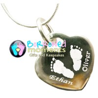 Hand Print Footprint Necklace Two Prints Names