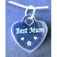 Sterling Silver Engraved Necklace Best Mum