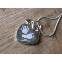 Engraved Hand Print Footprint Necklace with dangling Heart