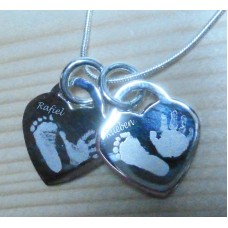 Engraved Silver Double Heart Necklace