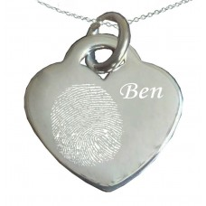 Engraved Silver Fingerprint Necklace