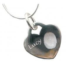 Engraved Silver Fingerprint Necklace