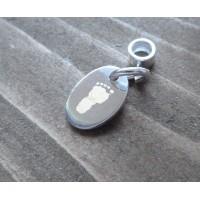 Oval Hand Print Footprint Pandora Style Charm