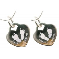 Four Children Engraved Hand Print Footprint Necklace