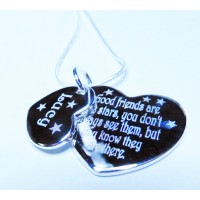 Engraved Good Friends Necklace, Double Heart, 925 Silver