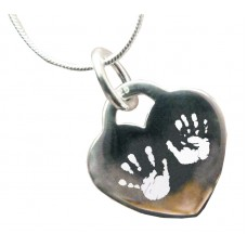 Engraved Hand Print Footprint Silver Necklace