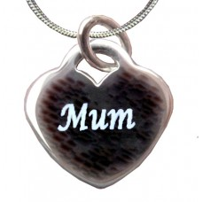 Mum Engraved Sterling Silver Necklace