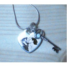 Silver Key to My Heart Engraved Necklace