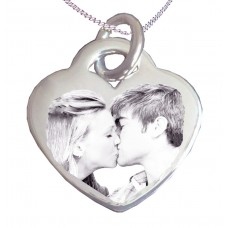 925 Silver Couples Photo Engraved Necklace