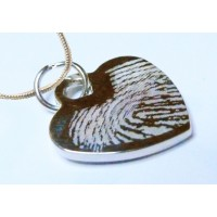 Engraved Fingerprint Necklace Sterling Silver