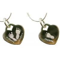 Three Children Silver Engraved Hand Print Footprint Necklace