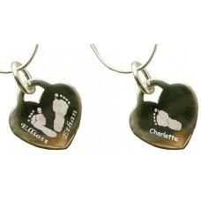Three Children Silver Engraved Hand Print Footprint Necklace