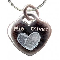 Engraved Silver Double Fingerprint Heart Necklace