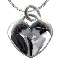 925 Silver Wedding Photo Engraved Necklace