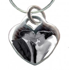 925 Silver Wedding Photo Engraved Necklace