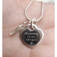 Mummy of an Angel Engraved Silver Keepsake Necklace