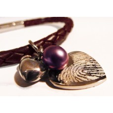 Ladies Tribal Brown Leather Fingerprint Charm Bracelet