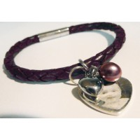 Ladies Tribal Brown Leather Photo Charm Bracelet
