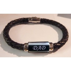 Engraved Tribal Unisex Leather & Stainless Steel Bracelet