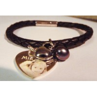 Tribal Leather and Silver Photo Charm Bracelet