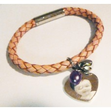 Ladies Tribal PINK Leather Photo Charm Bracelet