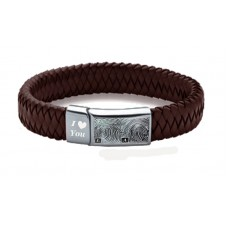 Engraved Mens Leather Hand Fingerprint Bracelet