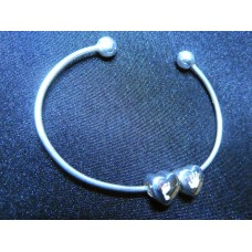 Silver Hand or Foot Print Bead Bangle
