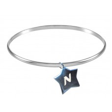 Bangle Engraved Silver Initial Stars