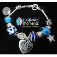 BLUE Ogle Charm Bracelet with Engraved Prints Charm