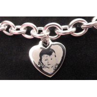 Photo Engraved Silver Charm Bracelet